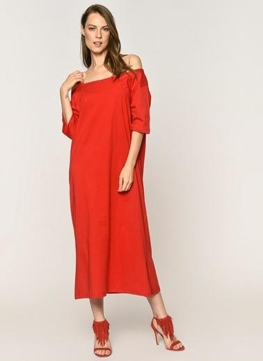 Loves You Tek Kol Dekolteli %100 Cotton Elbise Kırmızı